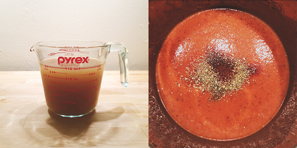 A split photo. On the left is a Pyrex measuring cup with a translucent brown stock in it; on the right is an above-shot of a pot of tomato soup with a heavy sprinkling of black pepper and herbs.