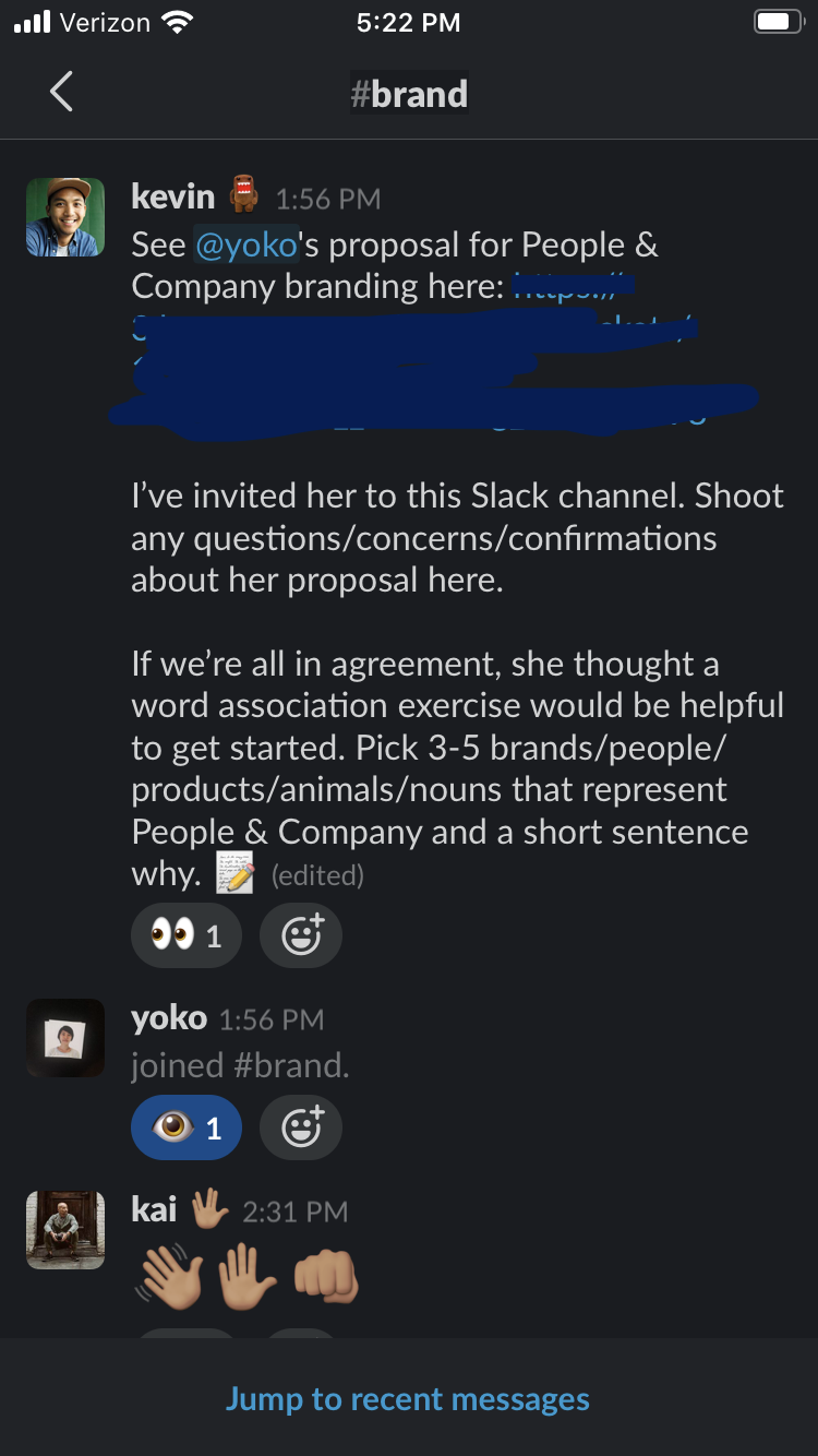 "A screenshot of People & Company's Slack, where Kevin invited me to the #brand channel and asked the word association prompt on my behalf: ""Pick 3 – 5 nouns that represent People & Company and a short sentence why."" Kai greeted me with some friendly hand emojis."