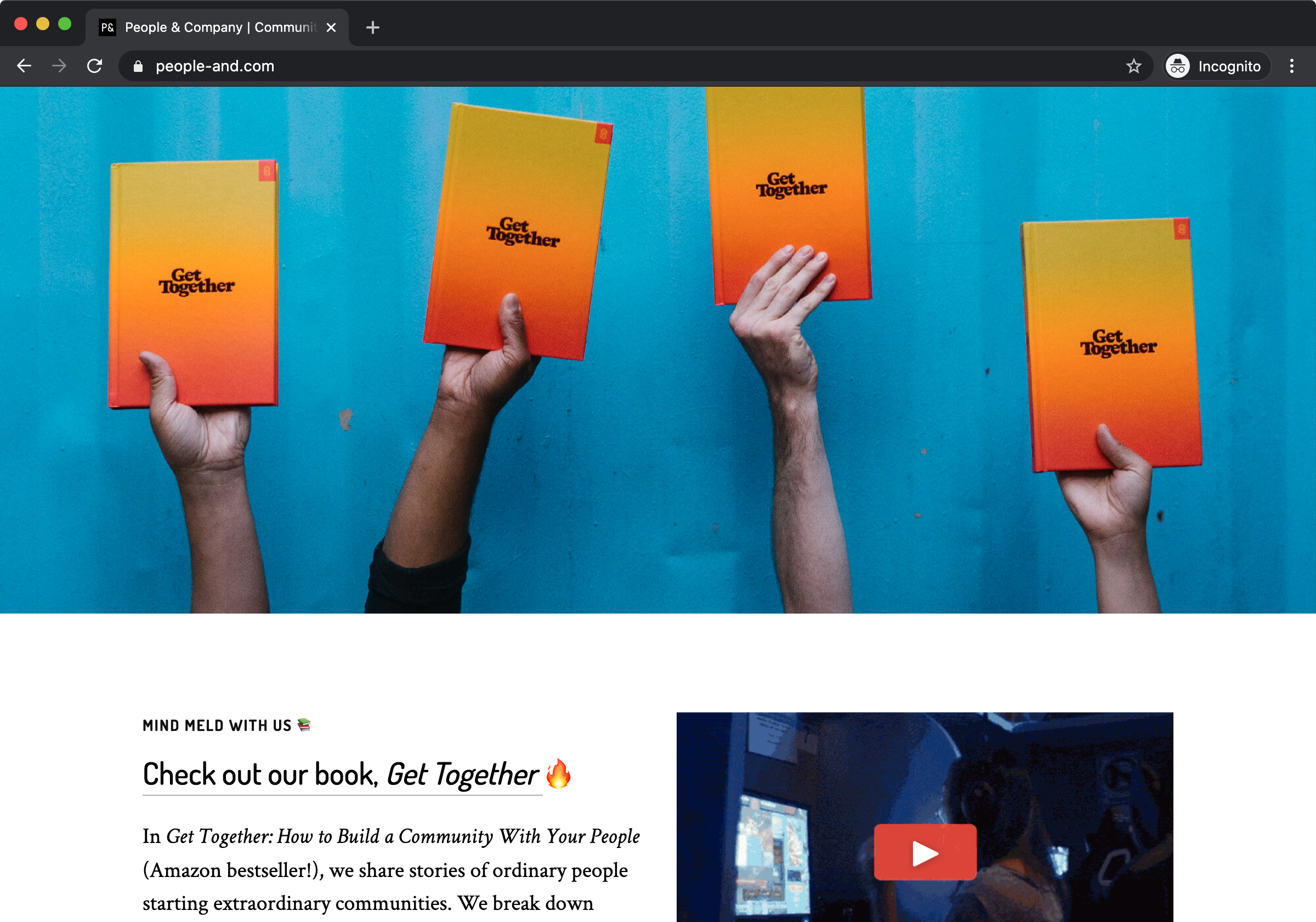 A screenshot of a browser on the People & Company website. It's mostly a photo of a blue wall with a bunch of hands holding up Get Together, which has a cover that gradates from yellow to red.